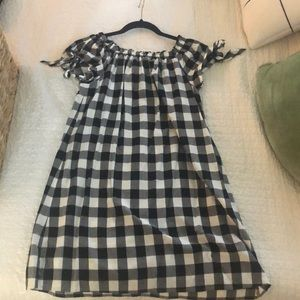 Loft off the shoulder gingham dress